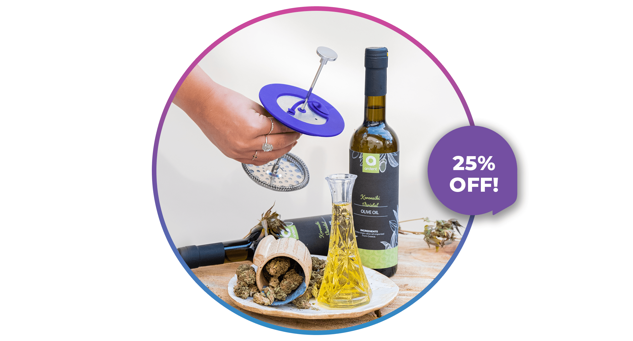 Get 25% off the infusion bundle, featuring our 500ml EVOO and infusion press